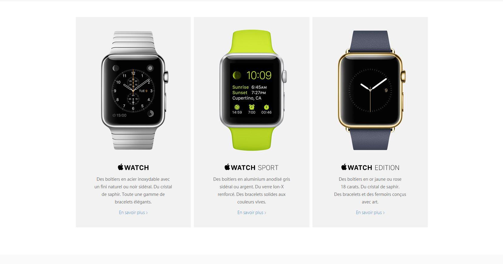 Les trois modèles de l'Apple Watch