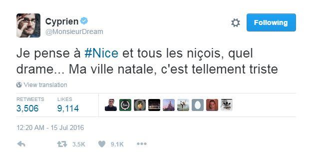 Le YouTubeur Cyprien, originaire de Nice, a partagé sa tristesse