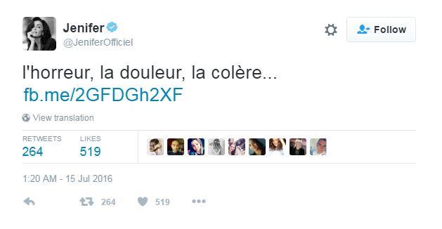 Née à Nice, Jenifer a également partagé sa douleur sur Twitter