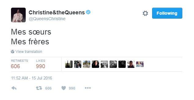 Christine and The Queens a écrit un message de soutien