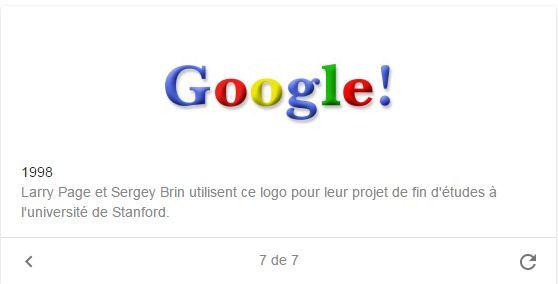 Le premier né des logos de Google avec son point d'exclamation