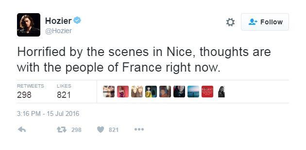 """Hozier se dit """"horrifié"""" et pense aux Français"""