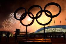 Les anneaux olympiques à Sotchi en 2014