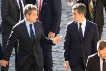 """Gérald Darmanin apporte son """"soutien personnel"""" à Nicolas Sarkozy dans l'affaire des """"écoutes"""" jugée actuellement au palais de justice de Paris."""