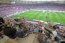 Des caméras lors du match Stuttgart-Cologne, le 16 août 2015