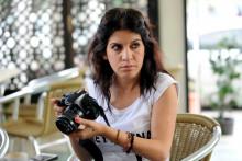 La défenseure des droits humains, Lina Ben Mhenni, le 7 octobre 2013 au procès de deux rappeurs tunisiens.