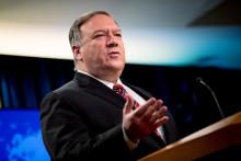 L'ancien secrétaire d'État américain Mike Pompeo lors d'une conférence de presse au Département d'État le 29 avril 2020 à Washington, DC.