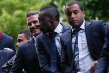 David Beckham, Blaise Matuidi et Lucas Moura à Paris le 13 mai 2013
