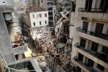 Les secours à la recherche d'un éventuel survivant, un mois après la double explosion à Beyrouth (Liban), le 4 septembre 2020.