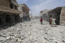 La ville d'Idleb, en Syrie, le 30 mai 2019, après avoir été bombardée.