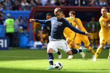 Antoine Griezmann a marqué le 1er but sur penalty contre l'Australie le 16 juin à Kazan