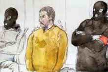 Dessin de justice représentant Mehdi Nemmouche réalisé le 10/01/2019.