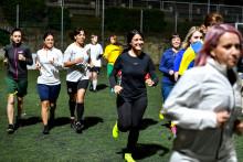 L'équipe féminine du Vatican à l'entraînement le 23 mai 2019, à Rome
