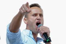 Le chef de l'opposition russe Alexeï Navalny s'adresse aux manifestants lors d'un rassemblement pour soutenir l'opposition et les candidats indépendants, le 20 juillet 2019 à Moscou.