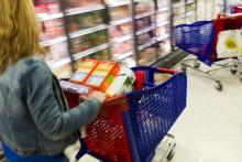 Une femme fait ses courses au rayon surgelé (illustration).