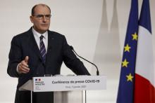 Le Premier ministre Jean Castex lors d'une conférence de presse à Paris, le 7 janvier 2021, sur la stratégie actuelle du gouvernement français pour enrayer l'épidémie de coronavirus.