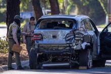 Le SUV Genesis GV80 de Tiger Woods après l'accident, le 22 février 2021, en Californie