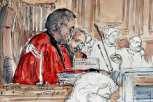 Un croquis montre les magistrats Didier Leick et Yves Janier pendant le procès en appel de l'affaire d'Outreau en novembre 2005.