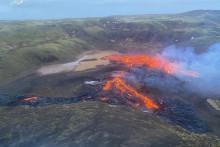 Une image aérienne du volcan Fagradalsfjall, le 20 mars 2021, en Islande
