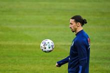Zlatan Ibrahimovic à l'entraînement avec la Suède le 23 mars 2021