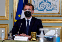 Emmanuel Macron le 25 mars 2021 en visioconférence depuis l'Élysée lors du sommet européen.