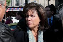 La journaliste Anne Sinclair, le 10 avril 2014 à Paris