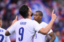 Olivier Giroud avec les Bleus au Stade de France le 8 juin 2021