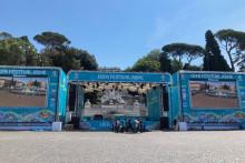 La fan zone installée à Rome, où aura lieu le match d'ouverture de l'Euro 2021.