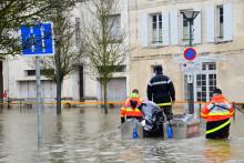 Une rue sous l'eau en raison d'une crue (illustration)