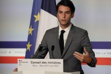 Le porte-parole du gouvernement français Gabriel Attal prend la parole lors d'une conférence de presse à l'issue de la réunion hebdomadaire du cabinet à Paris le 2 juin 2021. (Illustration)