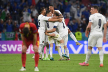 Les Italiens sortent vainqueurs des quarts de finale de l'Euro 2021 contre la Belgique à Munich le 2 juillet 2021.