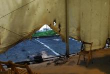 Le chapiteau accueillant le centre de vaccination d'Urrugne a été incendié dans la nuit du 17 au 18 juillet 2021.