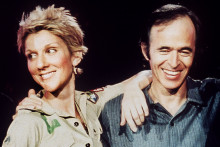 """Céline Dion et Jean-Jacques Goldman pendant l'enregistrement d'""""Une fille et quatre types"""""""