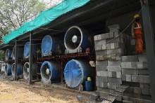 Des ventilateurs géants dans le centre de Delhi