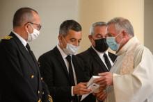 Gérald Darmanin le 26 juillet 2021 lors de l'hommage rendu au père Hamel, cinq ans après son assassinat.