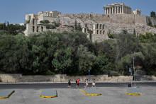 L'Acropole pendant la vague de chaleur, le 2 août 2021 à Athènes, en Grèce