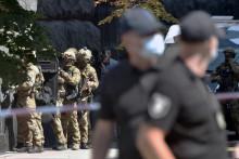 Les forces de l'ordre en opération au parlement de Kiev le 4 août 2021.