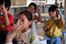 Des enfants dans une école en Chine