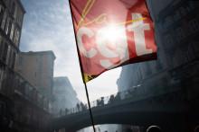 Le drapeau de la CGT lors d'une manifestation à Marseille (illustration).