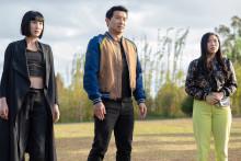 """Meng'er Zhang, Simu Liu et Awkwafina dans """"Shang-Chi et la Légende des Dix Anneaux"""""""