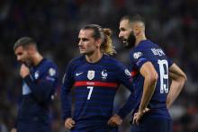 Antoine Griezmann et Karim Benzema avec les Bleus à Décines-Charpieu le 7 septembre 2021