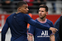 Kylian Mbappé et Lionel Messi avec le PSG à Reims le 29 août 2021