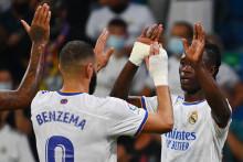 Karim Benzema et Eduardo Camavinga avec le Real à Madrid le 12 septembre 2021
