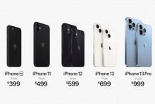 La gamme d'iPhone en vigueur fin 2021