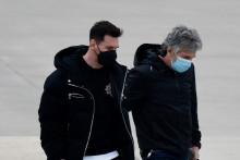Lionel Messi et son père Jorge arrivant à Rosario, en Argentine, le 13 juillet 2021