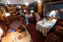 Un wagon de l'Orient Express, exposé à Singapour en décembre 2020