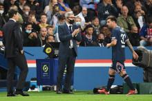 Mauricio Pochettino et Lionel Messi au Parc des Princes le 19 septembre 2021