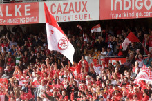 Les supporters du Biarritz Olympique au Stade Aguilera le 18 septembre 2021