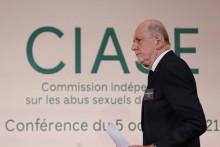 Jean-Marc Sauvé lors de la remise de son rapport sur les actes pédophiles dans l'Église, mardi 5 octobre.