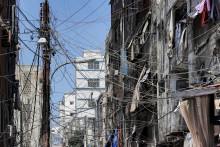 Une rue de Beyrouth, en proie aux coupures d'électricité, le 23 juin 2021